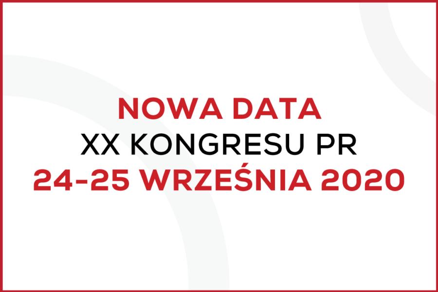 KONGRES PR 2020 – NOWA DATA WYDARZENIA